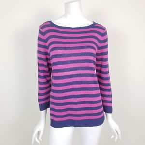 Talbots Pink & Blue Striped Linen Sweater